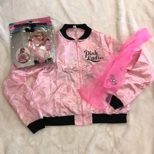 Pink ladies jacket and scarf 50s costume